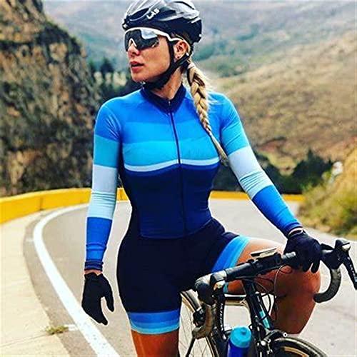 Triathlon Frauen Radfahren Jersey Einteiliges Kleid Langarm Set Kissen Radfahren Sportswear (Color : 4, Size : Medium)