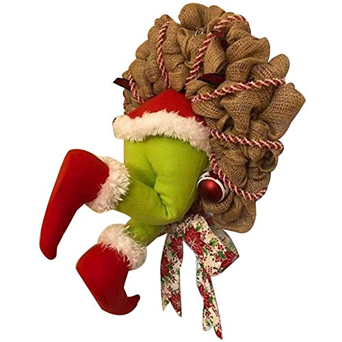 HOMEDAI Christmas Garland Decorations, How The Grinch Stole Christmas Burlap Wreath, Super Cute and Lovely Great Gifts for Friends,Home Decoration,M