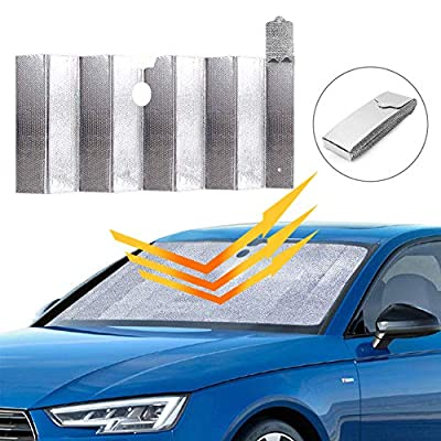 """Car Windshield Sunshade, Auto Front Window Protector Sun Shade Visor Heat Shield Cover Foldable UV Ray Reflector for Car, Keeps Vehicle Cool/Easy to Use/Fits Windshields of Various Sizes (59""""x 31"""")"""
