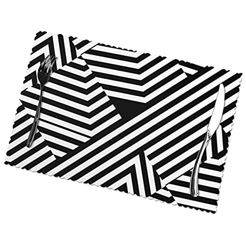 Manteles Individuales para Mesa de Comedor, Cocina, Restaurante, Moderno patrón de Rayas geométricas en Blanco y Negro, 12 x 18 Pulgadas