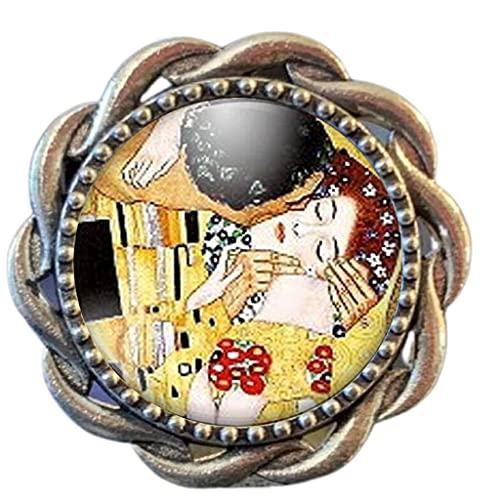 Anillo cabochon - Klimt'el beso'- Regalo de Navidad para regalo mujer - San Valentín- regalo de cumpleaños plata (ref.13a)