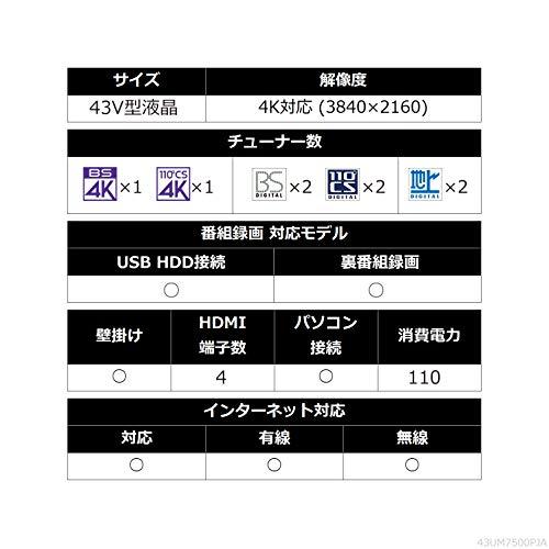 『LG 43V型 4Kチューナー内蔵液晶テレビ Alexa搭載/ドルビーアトモス対応 2019年モデル 43UM7500PJA』の9枚目の画像