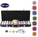 Display4top 500 Piece Texas Holdem Poker Chips Set with Aluminum Case ,2 Decks