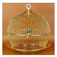 15インチの鍛造鉄の丸い鳥の飛行ケージ旅行や家の使用のためのスイングとガラスのフィーダーの携帯用の鳥のケージ (Color : Gold)