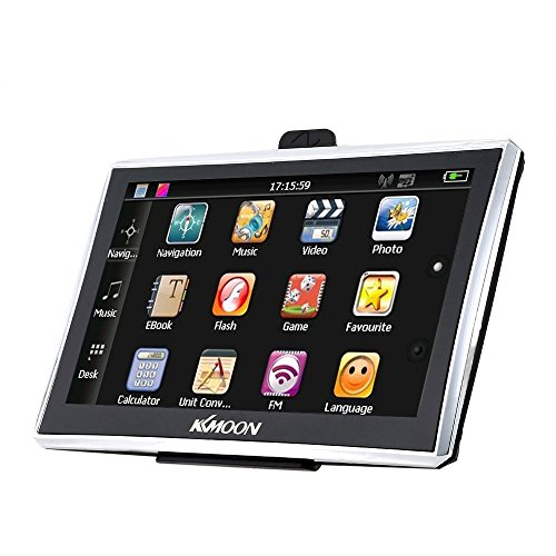 KKmoon 7-Zoll-HD-Touchscreen-tragbarer GPS-Navigator, 128 MB RAM, 4 GB ROM, FM-MP3-Video-Player, Auto-Unterhaltungssystem mit Rückenstütze + kostenlose Karte