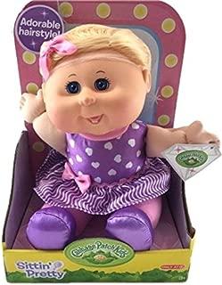 Cabbage Patch Kids Sittin Pretty Doll Blonde Hair/Blue Eyes - Purple Hearts Dress & Hairnet
