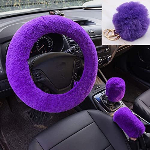 Dongshop 4PCS Set Fluffy Steering Wheel Cover with Handbrake Cover & Gear Shift...