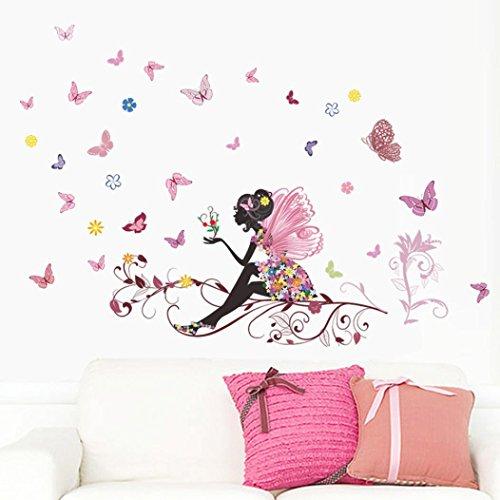 DAY8 Stickers Muraux Enfants Fille Garçon Fleurs et Papillons Stickers Muraux Chambre Adultes Salon Papiers Peints Créatif Amovible DIY Décorations Chambre Bébé Stickers Autocollant Mural Cuisine Salle de Bains (Rose)