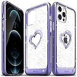 Vena vLove Funda de Glitter Transparente Compatible con Apple iPhone 12 Pro MAX (6.7'-Inch), (Heart Shape, CornerGuard Protection) Glitter Brillante Case Carcasa Protectora - Púrpura