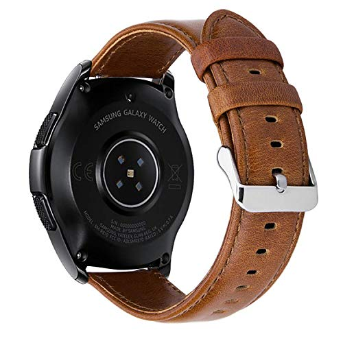MroTech 20mm Armband Echtleder Ersatz Lederarmband kompatibel für Samsung Gear S2 Classic, Gear Sport, Galaxy Watch 42mm, Galaxy Active, Withings Steel HR 40mm, Huawei Watch 2 Sport -Vintage Braun