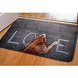 Nice-people Felpudos El Perro Se Sienta En El Amor Impreso Antideslizante Durable Lavable Alfombrillas Divertidas para El Hogar Alfombras para Entrada Dormitorio Cocina