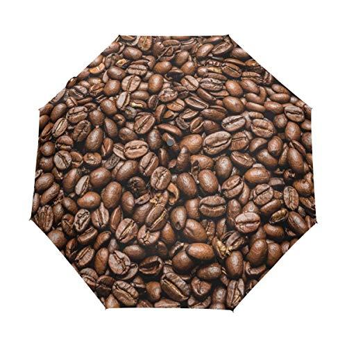 Geröstete braune Kaffeebohne Auto Open Close Faltbarer winddichter Reiseschirm