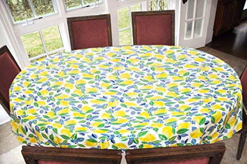 Covers For The Home Deluxe Stitched Edged Flannel Backed Vinyl Drop Tablecloth - Contemporary Lemon Pattern - 54' x 72' - Oval