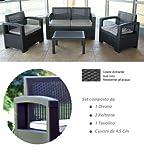 Sofá con Sillones y Mesa de Centro / Salón / Salón en Polirattan para Exterior / Mobiliario de Jardín - Mod ....