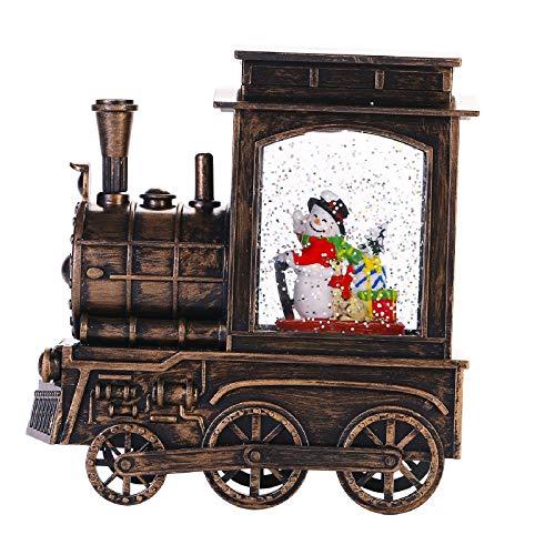 Bonbell Weihnachtsdeko Innen, Schneelaterne in Zugform mit Musik und Timer, Weihnachtslaterne mit Schneemann, wassergefüllt mit Schneegestöber, USB/batteriebetreiber LED Glizer Laterne Weihnachten