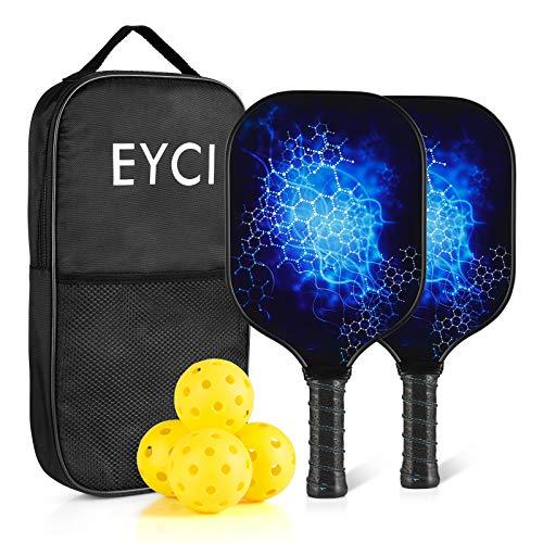 EYCI Pickleball Paddle Set - 2 Fiberglass Surface Rackets, Polypropylene Honeycomb Core, Portable Racquet Bag, 4 Pickleballs for Indoor and Outdoor