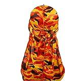 DaMohony - Accessorio per capelli da uomo, alla moda, stile mimetico, con coda lunga, con accessori per capelli Arancione mimetico. Taglia unica
