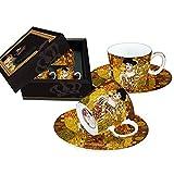 Carmani - Coppa del caffe espresso con piattino Set di 2 con 'Adele' di Gustav Klimt