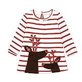 Riou Weihnachten Baby Kleidung Set Pullover Outfits Winteranzug Kinder Baby Mädchen Deer Gestreifte Prinzessin Kleid Weihnachten Outfits Kleidung (90, Weiß)