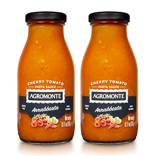 Agromonte Authentic Italian Cherry Tomato Pasta Sauce (Arrabbiata)- Taste of Italy Gourmet Foodie and Chef Gift - Certified Kosher, Gluten-Free, All Natural, Spicy Sauce 9.17oz (2 pack)