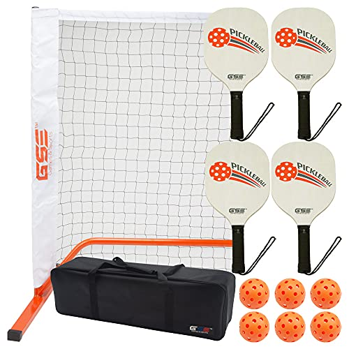 GSE Games & Sports Expert Professional Portable Pickleball Complete Set (Including Pickleball Net System, 4 Pickleball Paddles, 6 Pickleballs, Carrying Case) (Orange)