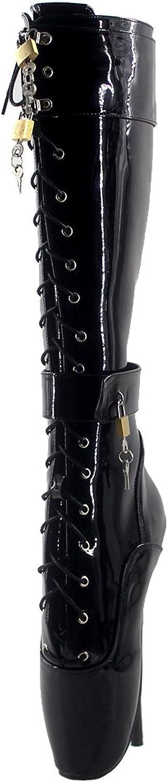 Wonderheel 7  thin heel knee high ballet shoes black shiny sexy fetish lace up padlocks ballet boots