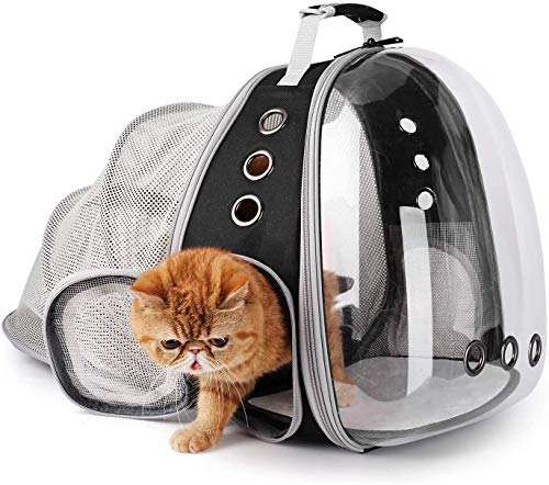 Pet Carrier Backpack, Bubble Backpack Carrier, Cats and Puppies,Airline-Approved, Designed for Travel, Hiking, Walking & Outdoor Use (Black-Expandable)