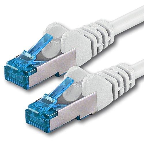 1,5m Cable de Red, Cable Ethernet y LAN SFTP PIMF Cat6a - transmite hasta 10 Gigabit por Segundo y es Adecuado para switches, routers, módems con Entrada RJ45, Blanco - 1 Pieza