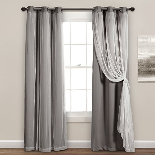 "Lush Decor Sheer Grommet Panel with Insulated Blackout Lining, Room Darkening Window Curtain Set (Pair), 84"" L, Dark Gray"