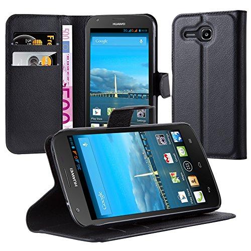 Cadorabo Hülle für Huawei Ascend Y600 - Hülle in Phantom SCHWARZ – Handyhülle mit Kartenfach und Standfunktion - Case Cover Schutzhülle Etui Tasche Book Klapp Style