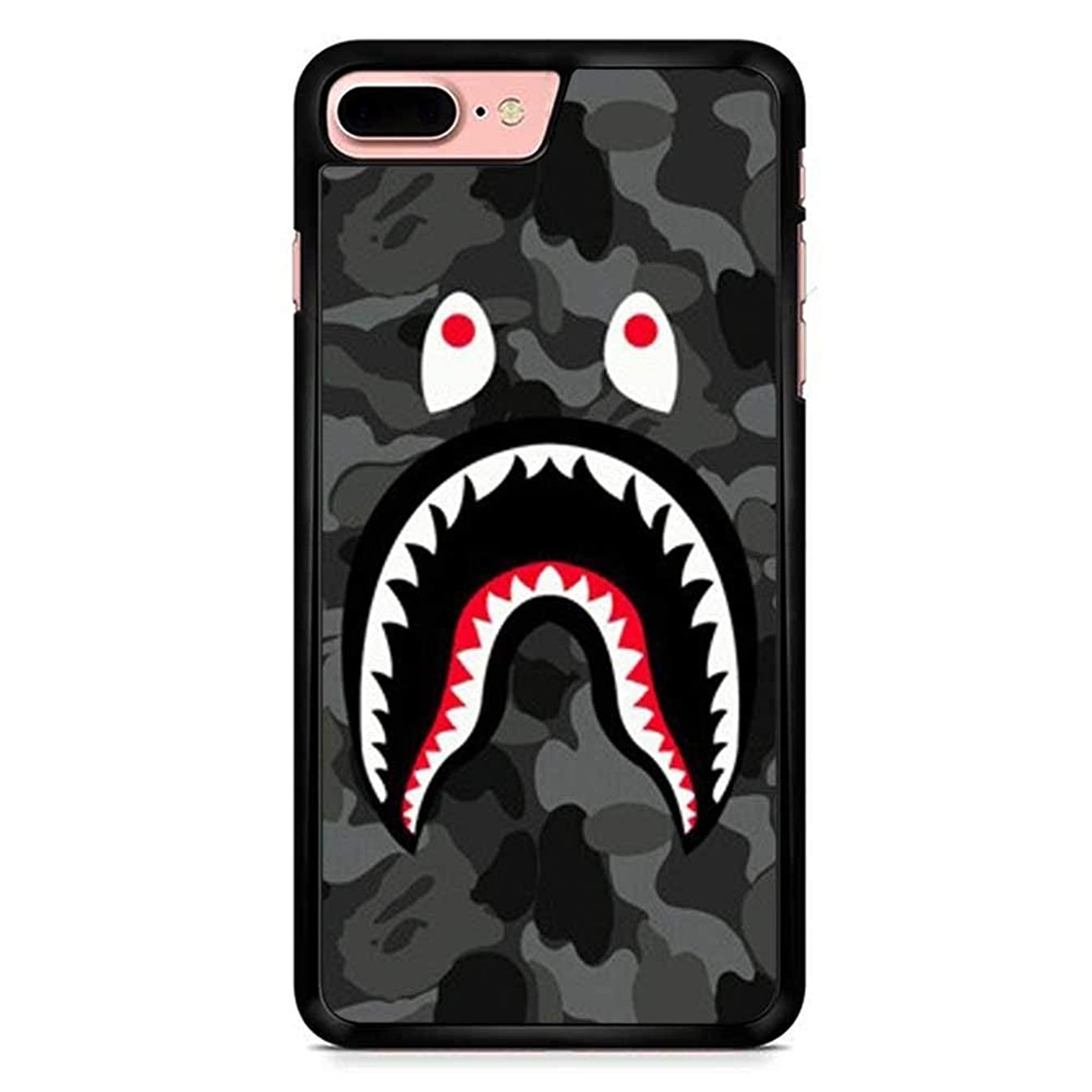 iPhone 7 Plus Case, iPhone 8 Plus Covers, BapeShark Logo on Red Camo Background Hard Cases Cover for iPhone 7 8 Plus 5.5 inches (Red) (Black)