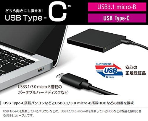 『エレコム USBケーブル Type C (USB C to Micro B) 0.5m USB3.1認証品 3A出力 最大10Gbps ブラック USB3-CMB05NBK』の1枚目の画像