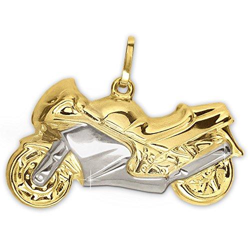CLEVER SCHMUCK Goldener Anhänger großes Motorrad 22 x 14 mm Bicolor, beidseitig plastisch und glänzend 333 Gold 8 Karat