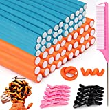 70 PCS Flexible Curling Rods Twist Foam Hair Rods 2 Size Heatless Hair Rollers Include 60 Pcs Foam Rods and 10 Pcs Duckbill Hair Clips Hair Comb for Women Long and Short Hair DIY Curly Hairstyle