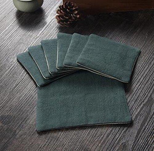 Coussin absorbant à la main de coton et lin Dessous-de-verre vert foncé