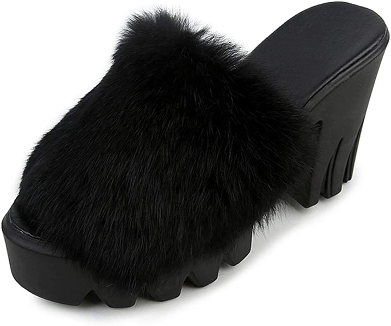 Zarbrina Womens Fluffy High Platform Slide Slippers Block Heels Fur Plush Casual Winter Warm Outside Slip On Creepers