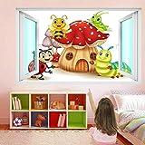 MXLYR Pegatinas de pared Divertidos Insectos Setas Casa Dibujos Animados Mural Pegatinas Calcomanías Mural Niños