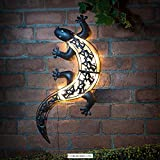 Solar Powered Bright LED Light Gecko Metal Garden...