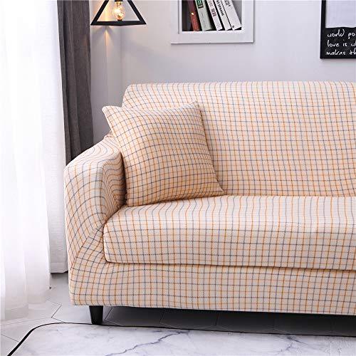 Funda de sofá Antideslizante de Poliéster Spandex Rejilla de Color Amarillo Claro Estampado,Funda elástica Antideslizante Protector Cubierta de Muebles para sofá de 4 plazas(1 Funda de Cojines)
