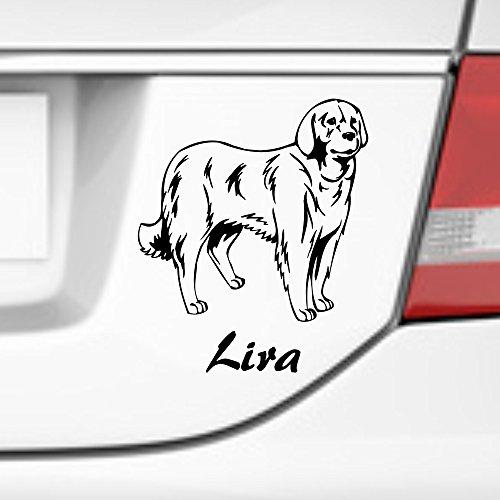 malango® Autoaufkleber Akbash Herdenschutzhund Wunschname Autosticker Hunderasse Tier Aufkleber Sticker ca. 17 x 20 cm gold