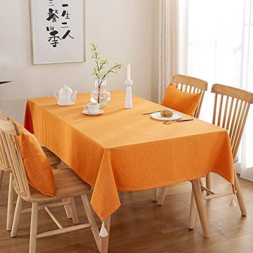 PhantasyIsland.com Mantel de Algodón y Lino Antimanchas, Mantel para Comedor Mesa 120 * 120cm
