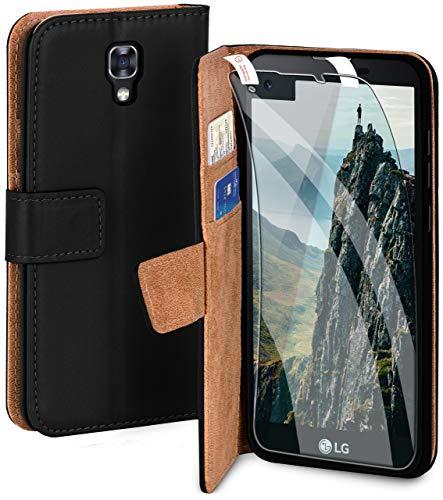 moex Handyhülle für LG X Screen - Hülle mit Kartenfach, Geldfach & Ständer, Klapphülle, PU Leder Book Hülle & Schutzfolie - Schwarz