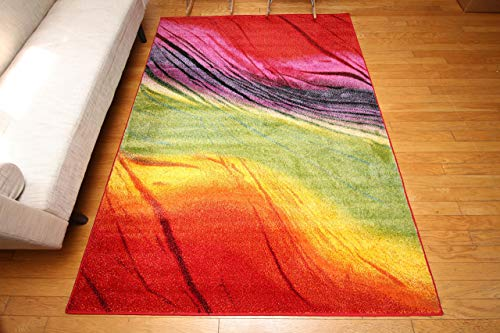 Feraghan/Radiance Collection Art Contemporary Collection Modern Lines Gradient Wool Area Rug, 8' x 10', Yellow/Blue/Orange/Purple 10' Rug No Fringe
