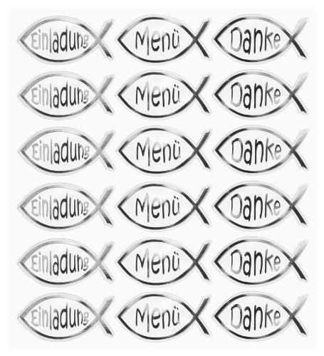 HOBBY-Design Sticker, Fisch-Einladung/Menü/Danke