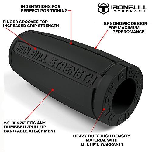 Alpha Grips 2.0 Inch Durchmesser – 1 Paar – Extrem Arm Blaster – Ergonomische Dicke Griffe – Beste Fat Bar Training Griffe (Grau) - 2