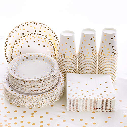201PCS Disposable Plates Gold Party Supplies, Golden Polka Dots Paper Plates, include 50 Dinner Plates,50 Dessert Plates,50 Napkins 50 Cups, 1 Plastic Tablecloth,for Baby Shower Wedding Birthday