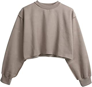 fde46c6590 Women Pullover Cropped Hoodies Long Sleeves Sweatshirts Casual Crop Tops  for Spring Autumn Winter