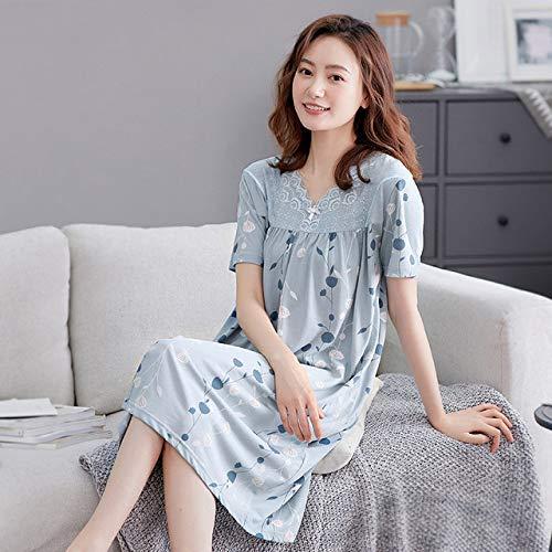 YPDM Summer pajamas,Summer Knee-length Nightgown Kimono Bathrobe Gown Modal Women Nightdress Nightwear Short Sleeve Casual Print Sleepwear Homewear,Style 8,L