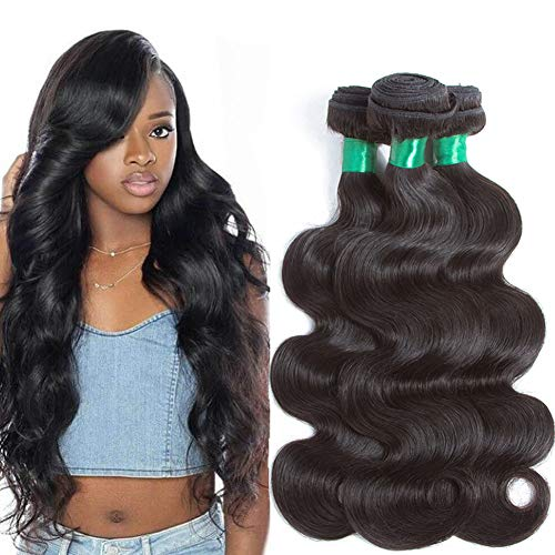 """12A Brazilian Body Wave 3 Bundles 20inch Same Length Deal 100% Unprocessed Virgin Human Hair Weave Weft Natural Color Brazilian Remy Hair Extensions Weaving for black women(20"""" 20"""" 20"""") Pecwu Hair"""