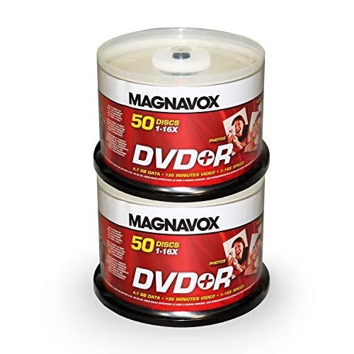 Magnavox 100disc DVDR 16x Logo Top 2 x 50pk Spindle